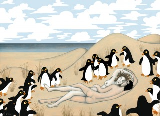 Lovers Asleep on the Beach, Discovered by Penguins