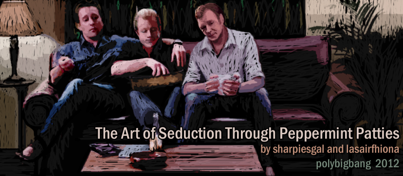 The three boys on couch in Steve's living room - banner for the fic
