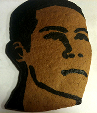 Cookie with black areas completed - stencil and touch-up painting
