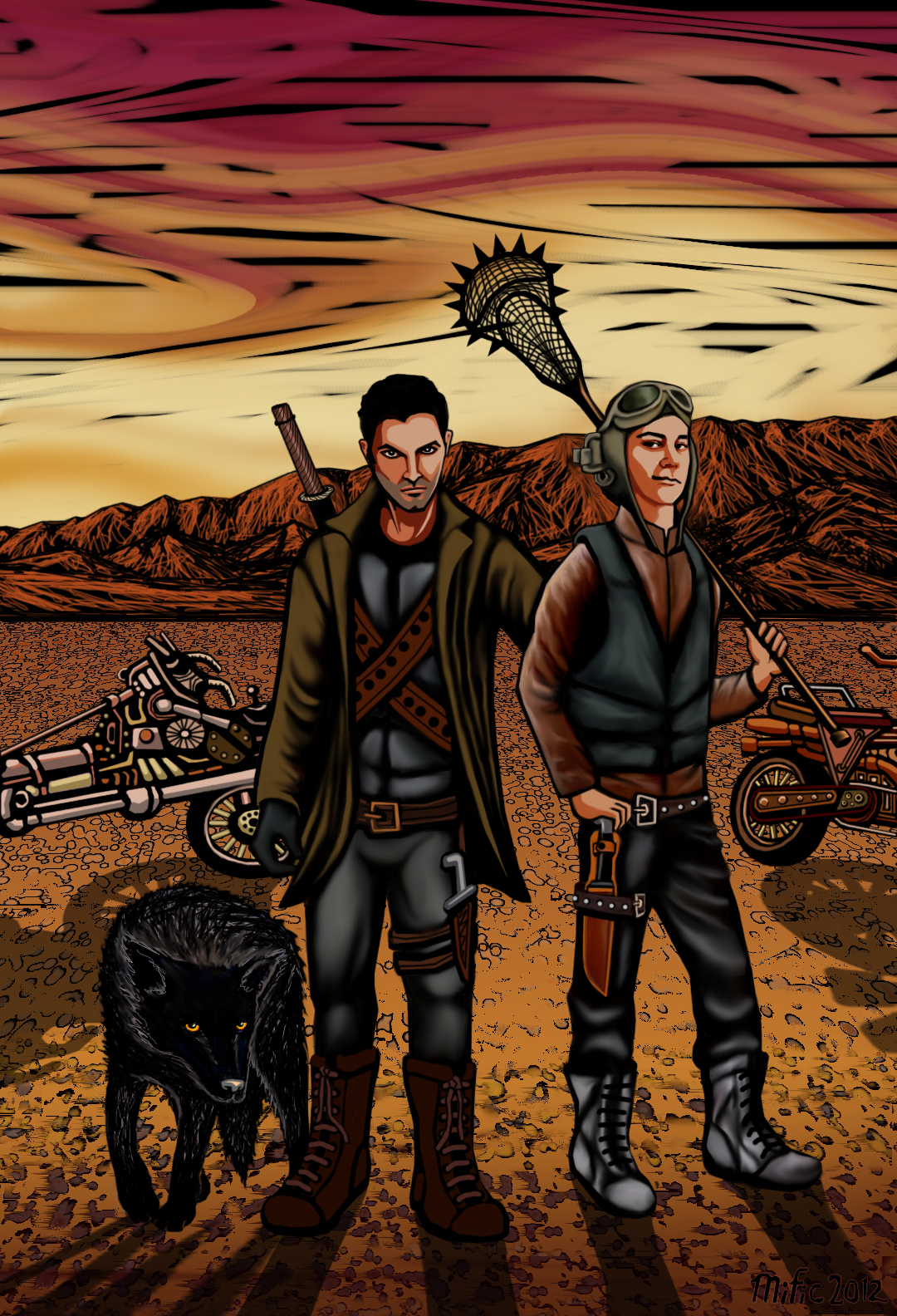 Derek and stiles in a desert with weapons, a wolf and weird bikes.