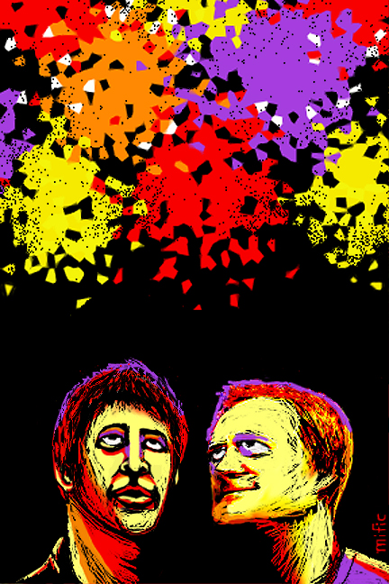 John and Rodney underneath fireworks - bright colours