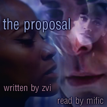 Uhuru and Spock - overlaid images - podfic cover