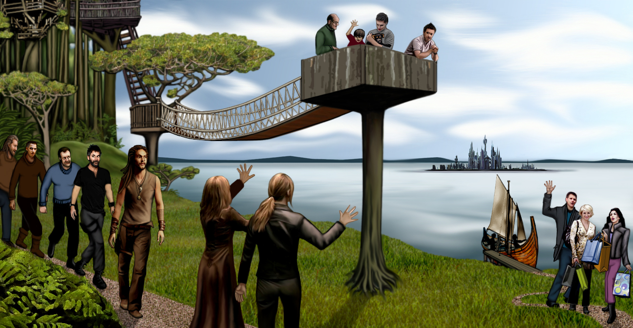 shore with SGA characters welcoming SG1 visitors