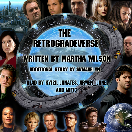 Cover art for retrogradeverse - interlocked sga/sg1 stargates and all the charaters around the edges