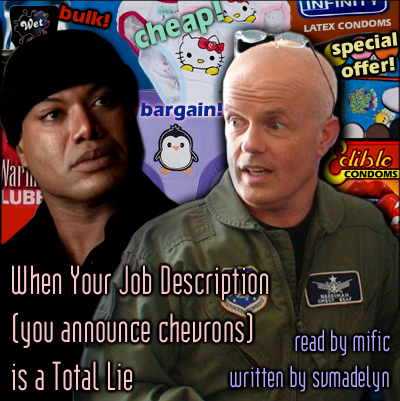 Walter, teal'c backed by a collage of kids' underwear, condoms, lube and toys