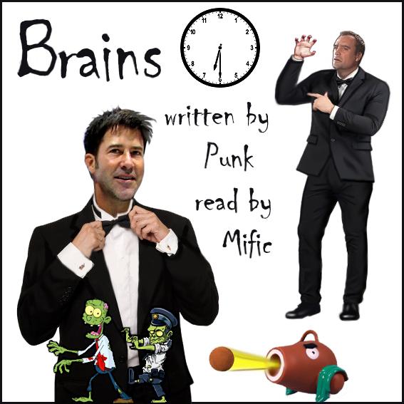 cover art for podfic - Brains