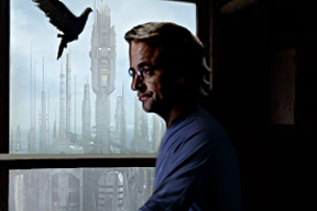 Zelenka gazing out window with pigeon, Alantis in background