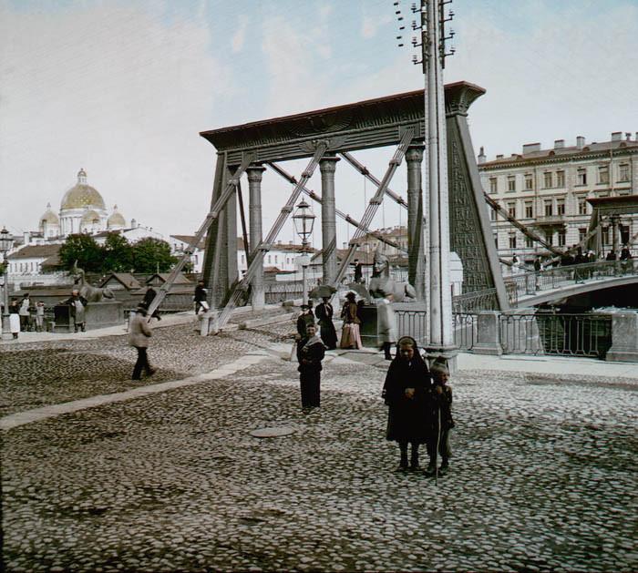 F. Krátký Petrohrad, 1896. Petrohrad - Egyptský most