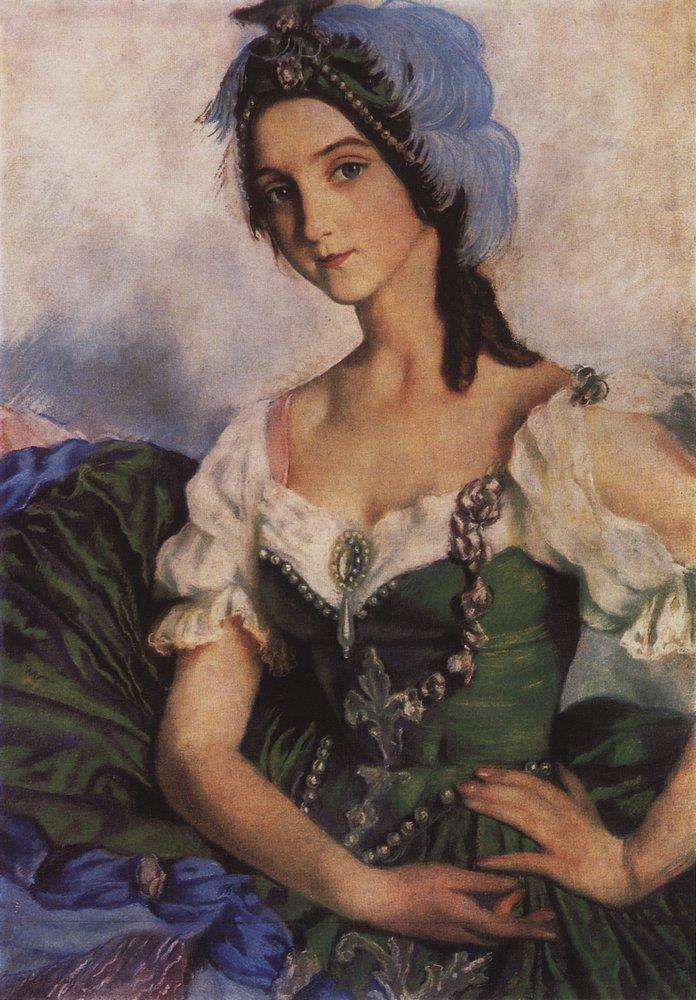 Портрет балерины А.Д.Даниловой в костюме для балета