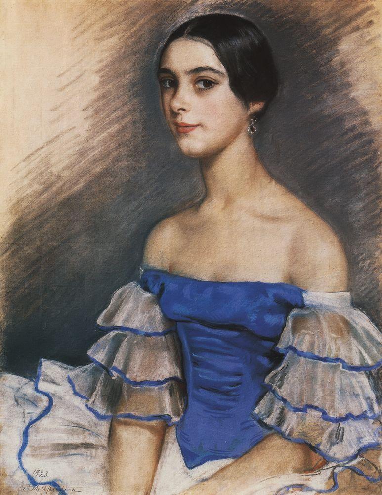 Портрет_Е_Н_Гейденрейх в голубом_1923