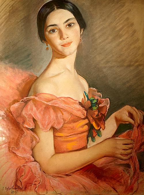 Серебрякова Портрет балерины Е.Н. Гейденрейх в красном. 1923.