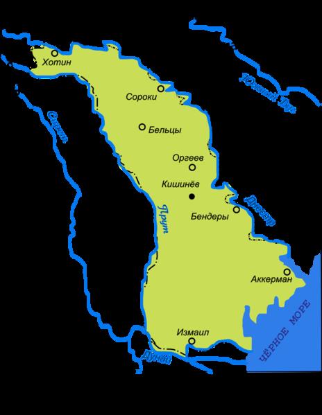 Harta administrativa a Basarabiei (1914)