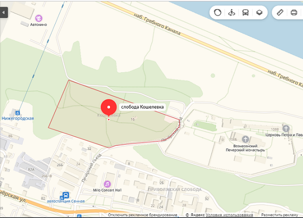 Слобода Кошелёвка на карте Нижнего Новгорода.