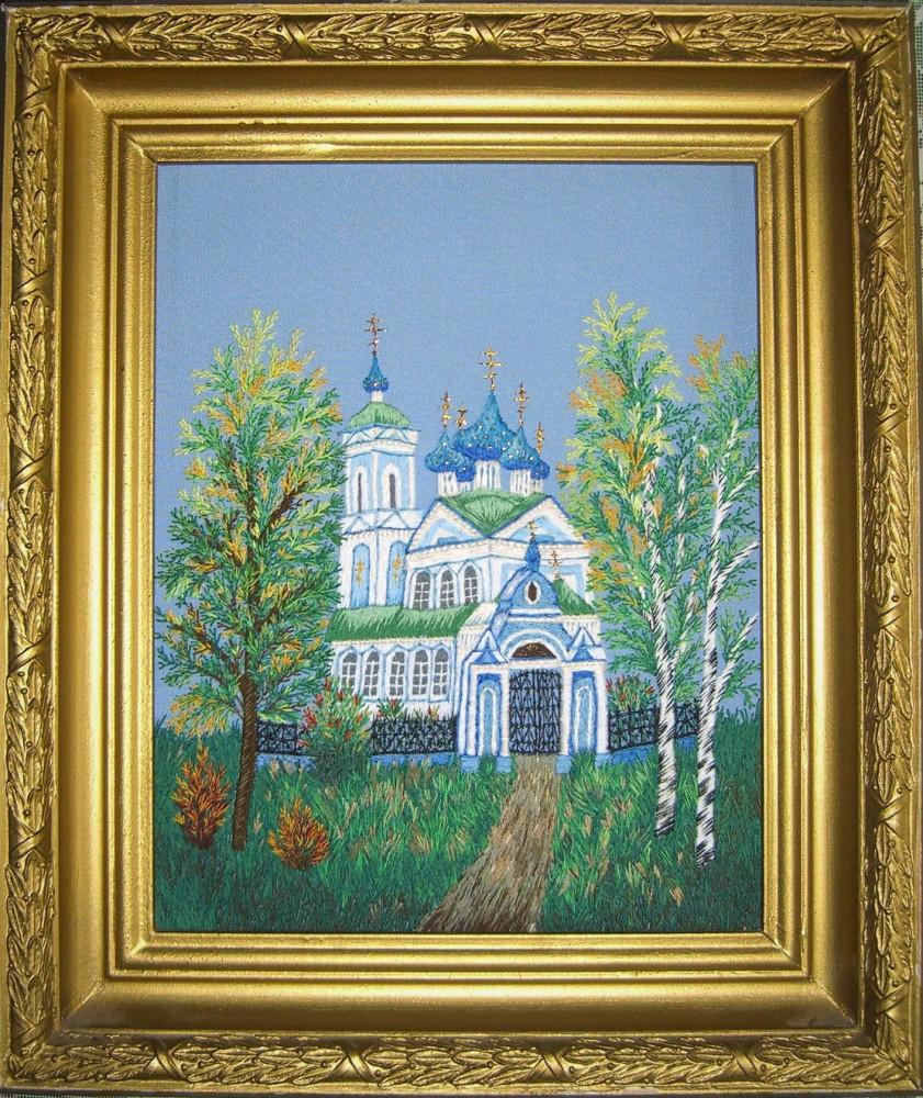 Картина Сретенская церковь. Вышивка.