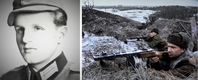 Слева: фото Армин Шейдербауер.                                   Справа: фото из интернета, возможно, с какой-нибудь  реконструкции (всё-таки цветное),   воин с автоматом, на передней плане, похож на моего отца.