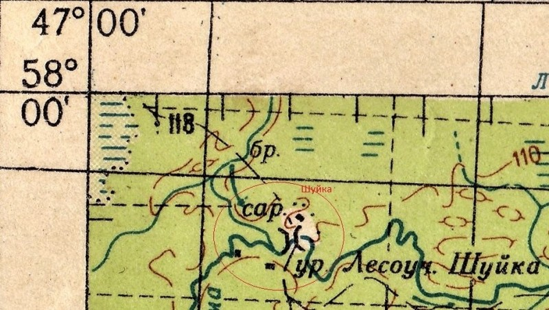 А здесь на карте я пометил кружочком посёлок Шуйка