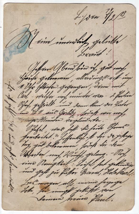 Обратная сторона с записью 1913 года