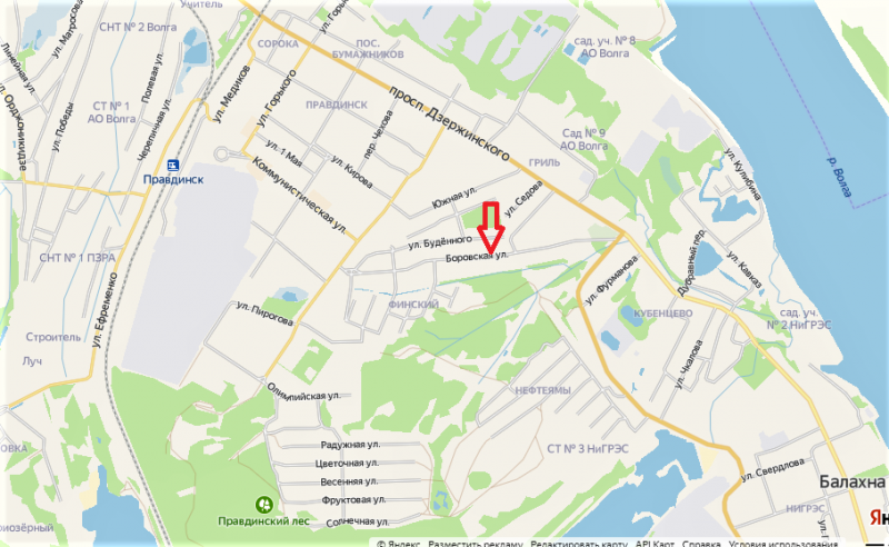 17.Боровская улица на карте Балахны