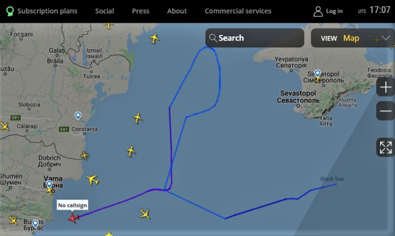 Американский противолодочный самолёт у берегов нашего Крыма.