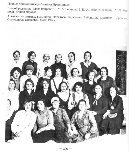 Первые дошкольные работники Правдинска, 1934 г.