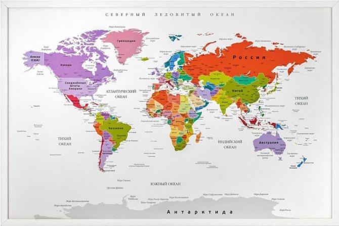 Современная карта мира с ущербными границами РФ. Здесь мелко, но Крым — наш!
