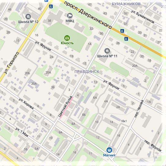 Цветной бульвар на карте города Балахна.