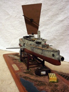 Kitbashed Thunderchild model, starboard bow
