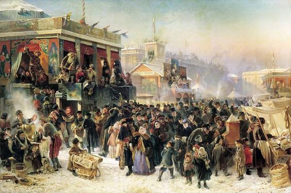Маковский КЕ 1869 Народное гулянье во время Масленицы на Адмиралтейской площади в Петербурге