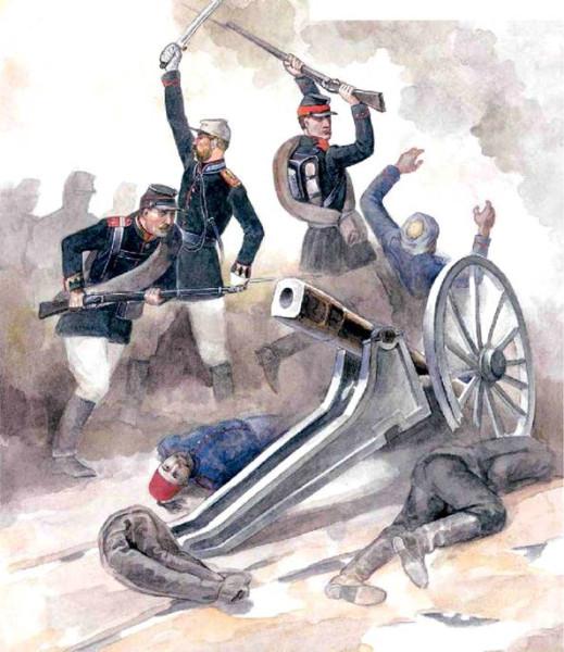 Русская пехота штурмует турецкую батарею 1877