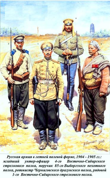 Черниговский драгун и пехота в полевой форме 1905