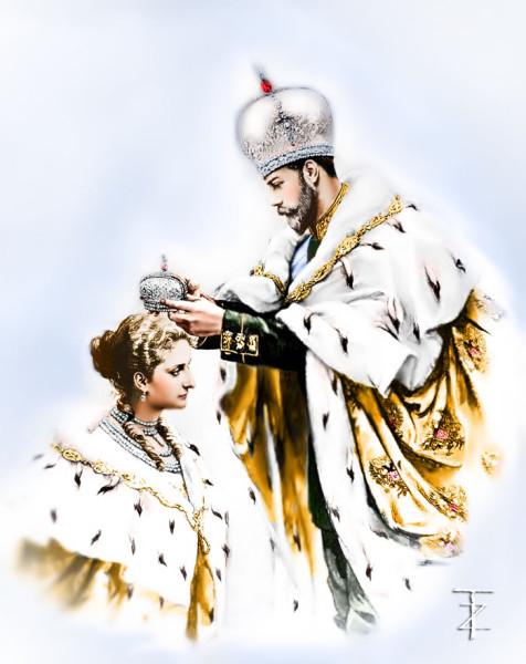 Николай Второй коронует Александру