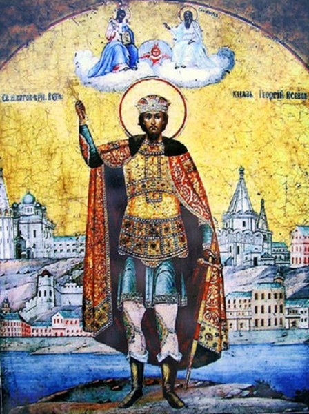 Георгий Всеволодович на фоне Пресвятой Троицы