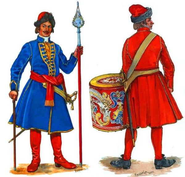 Обер-офицер и барабанщик русской пехоты 1700