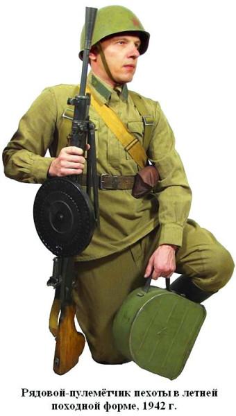 Рядовой-пулемётчик в летней форме 1942