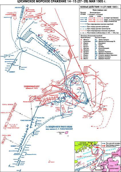 Карта Цусимского сражения