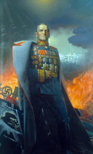 Жуков - парадный портрет на фоне поверженных вражеских знамён
