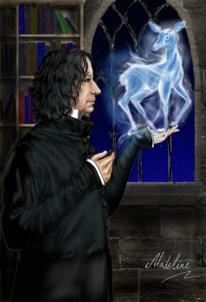 Снейп с ланью в кабинете Дамблдора