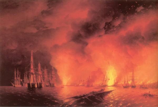 Синоп - турецкий флот догорает
