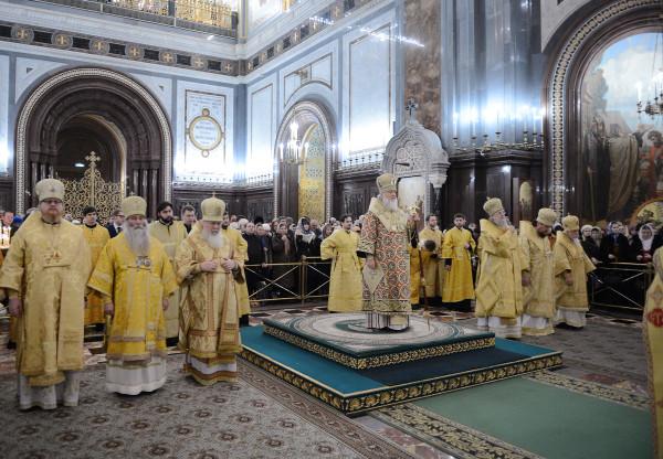 Патриарх Кирилл проповедует на новогоднем молебне