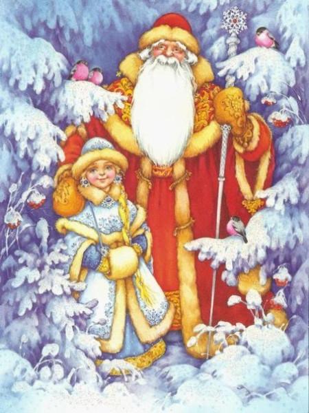 С Новым Годом - дед Мороз со снегуркой