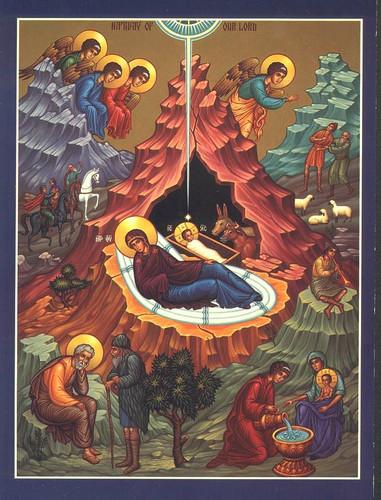 Икона Рождества в синих тонах