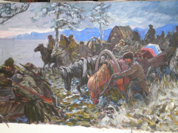 Белогвардейцы вывозят гроб с телом Каппеля