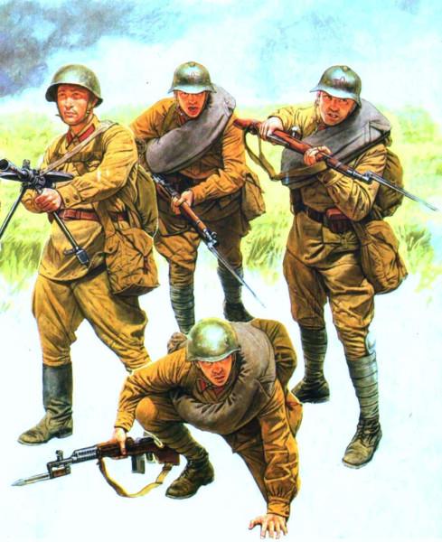 Рядовые пехоты в походной форме 1941