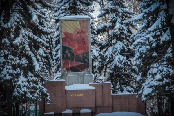 Площадь Свободы под снегом