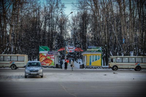 Автобусная остановка на площади Свободы