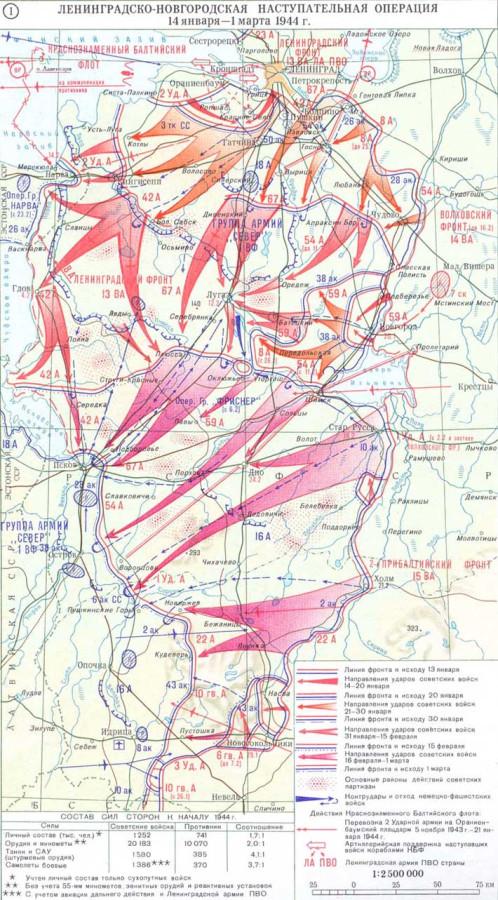 Ленинградско-Новгородская наступательная операция - карта