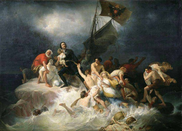 Пётр Первый спасает утопающих в Лахте - панегирик