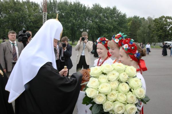 Патриарха Кирилла встречают на Украине