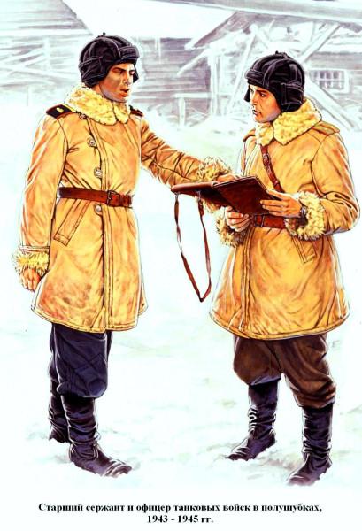 Танкисты - офицер и сержант в полушубках 1943