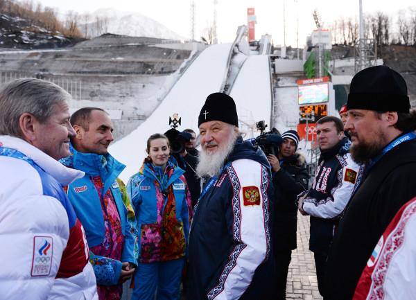 Патриарх осматривает олимпийскую трассу